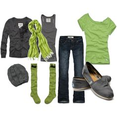 Green, grey and comfy! Nice!