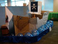 For Colton's party?  Made of cardboard, and I love the balloons as the sea!