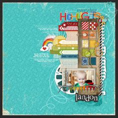 a #rainbow of #color in this #scrapbook page from Kayleigh Wiles at DesignerDigitals.com