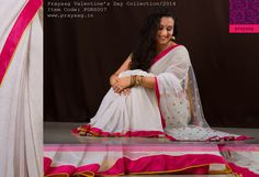 Pearl white saree with pink borders