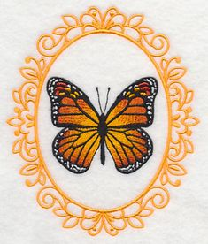 Butterfly Cameo Monarch 3x3 and 4x5 Machine Embroidery Designs at Embroidery Library! -