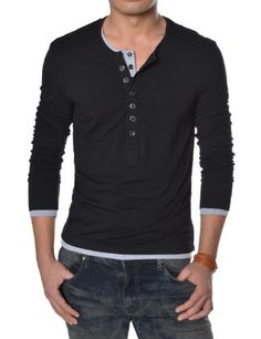 b921e2ba6619d Black Friday TheLees Mens Casual Long Sleeve Layered Style Button Tshirts  Black Large(US Medium) from TheLees Cyber Monday