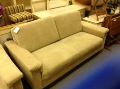 Latte Coloured Sofa - Perfect condition-  Neutral latte coloured fabric.  Matching easy chair also available  these items were floor models from a local retailer   They are like new condition Item. 21006-79.  Price $650.00   - http://takeitorleaveit.co/2013/08/21/latte-coloured-sofa/