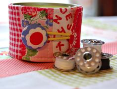 use to cover a tin can or other container for pretty storage