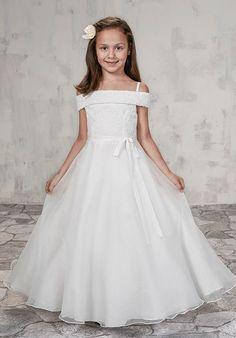 Girls Communion Dresses, Prom Girl Dresses, Ivory Flower Girl Dresses, Lace Flower Girls, Girls Party Dress, Little Girl Dresses, Bridal Dresses, Lace Dress, Lace Bodice