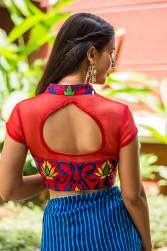 Ready to shop blouses | House Of Blouse   We are pouring inspired blouse designs this monsoon! A super cool red thread worked number with a sheer yoke and back. And a collared front open style with a subtle slit and a satin edged cutout back. Yup it's lovely…   A blue saree, a yellow saree, a red saree or even green…Pair away. Want a different kind of a look? Pair with a black saree!