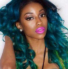 curly blue hair; gorgeous. #black girls