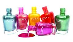 The Zoya Irresistible Metallic Collection shines bright with six sparkly lacquers: Hazel (blue), Tinsley (lighter pink), Kerry (yellow), Amy (orange), Rikki (green), and Bibbi (fuschia) | Nail Art | Neon Polishes | Summer Nail Polishes | Nail Trends | Nailpro Magazine