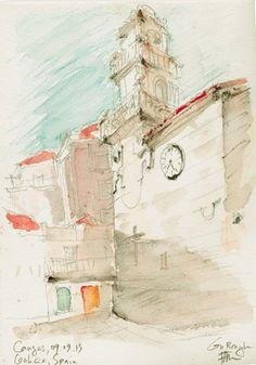 """Croquis """"in situ"""" de l'église Santiago de Cangas, Ria de Vigo aquarelle, crayon de couleurs, graphite papier Canson Montaval 210g, grain fin"""