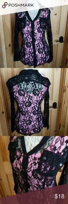 Beautiful Express lace top Lace blouse in excellent condition. Can be dressed up or down! (Pink tank top not included) It's pretty stretchy so it's really comfy! Express Tops Blouses