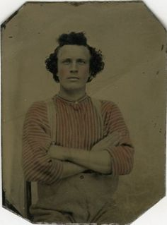 Tintype-Curly-Haired-Man-in-Pink-Striped-Shirt-Eastern-Ontario-1870-80