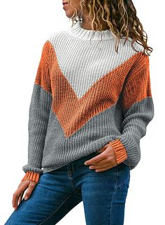 708fd4e7d0f6a Women s Contrast Color Block Long Sleeve Round Neck Knitted Sweater Color