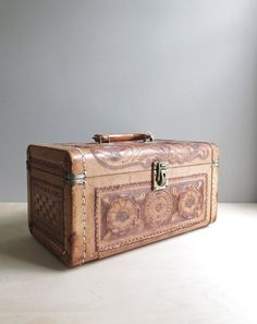 tooled leather vintage train case