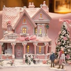Pretty pink christmas village tiffany bedandbreakfast house vintage