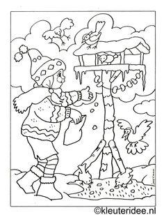 Ptáčci v zimě - omalovánka