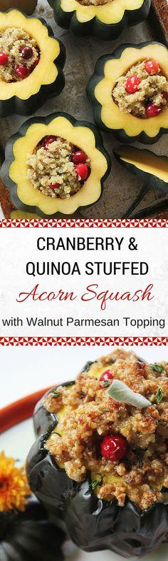 Cranberry & Quinoa Stuffed Acorn Squash with Walnut Parmesan Topping