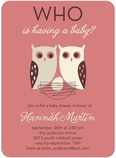 Whose Nest - Baby Shower Invitations - Eleanor - Mauve - Purple : Front