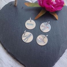 Pet ID tag metal hand stamped dog name tag