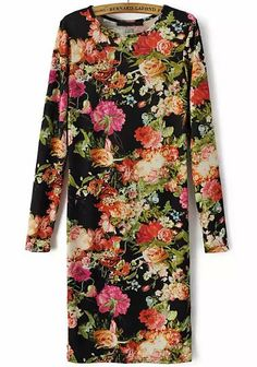 Black Long Sleeve Slim Vintage Floral Dress 20.00
