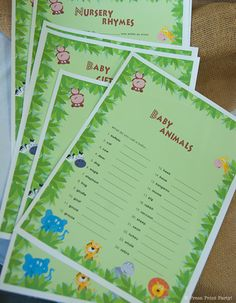jungle safari baby shower games Jungle Safari Printables for Birthday or Baby Shower by Press Print Party! #jungle #party