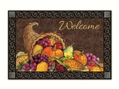 #Thanksgiving Harvest MatMate.  Can be used stand-alone or as interchangeable inserts in our MatMates™ Outdoor Doormat trays or Indoor Comfort Trays™ (as shown, sold separately). Non-slip recycled rubber backing. Weatherproof for outdoor use.  #doormat #mat #welcome