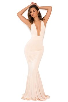 Clothing : Max Dresses : 'Miacova' Peach Silky Jersey Plunge Maxi Dress