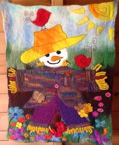 Love Scarecrows...wet felted with machine embroidery and applied pieces to give depth