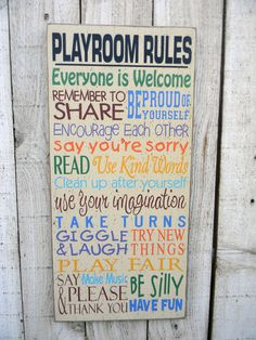Playroom Rules typography wall sign. $45.00, via Etsy.