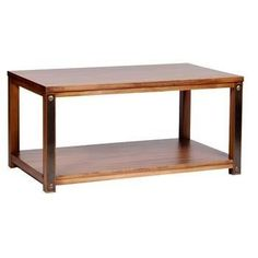 Forge Coffee Table - With a simple shape and traditional style, the Core Products Forge Aged Metal and Pine Coffee Table would make a superb addition to any living area. This piece features a pine build with an aged, industrial style metal detailing along with four legs and a rectangular shaped top surface with an open lower shelf design.