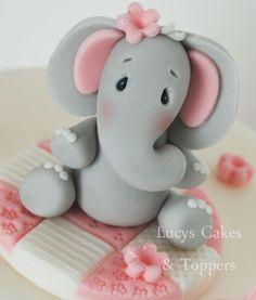 ELEPHANT CAKE TOPPER DECORATION  CHRISTENING BIRTHDAY                                                                                                                                                                                 Plus