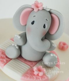 ELEPHANT CAKE TOPPER DECORATION CHRISTENING BIRTHDAY