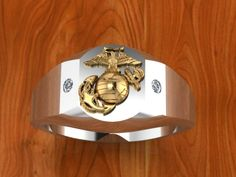 Two Tone Gold Marine Corps Ring with diamonds