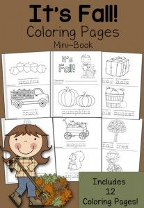 Free Fall Coloring Pages - 12-page mini-book!