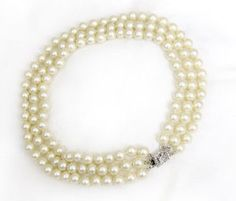 Pearl Necklace Jackie Kennedy Style Pearls Triple Strand Almost Choker Necklace | eBay
