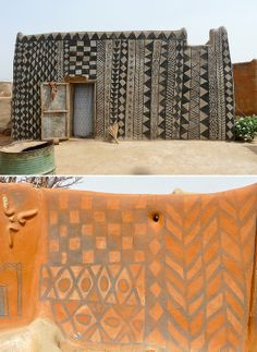 Incredible architecture in the village of Tiebele, Burkina Faso. Dwellings are either square (for married couples) or round (for bachelors) and all elaborately decorated. Vernacular Architecture, Unique Architecture, Exterior Design, Interior And Exterior, Textures Patterns, Print Patterns, Ephemeral Art, Adobe House, Brown Walls