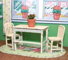 Tootsietoy 1930u0027s Version Kitchen Table Chairs Vintage Dollhouse Furniture  | EBay