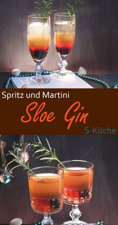 Sloe Gin Cocktails – Sloe Gin Spritz und Sloe Gin Martini Recipe for Sloe Gin Spritz and Sloe Gin Martini Aperitiv Winter Cocktails, Sloe Gin Cocktails, Gin Cocktail Recipes, Cocktail Drinks, Alcoholic Drinks, Beverages, Spritz Drink, Cocktails For Beginners, Cheers