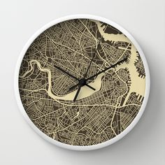 Boston Map by Jazzberry Blue as a high quality Wall Clock. Free Worldwide Shipping available at Society6.com from 11/26/14 thru 12/14/14. Just one of millions of products available.