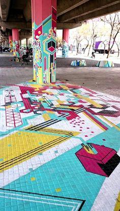 Tramas Urbanas. Un proyecto de la cátedra Longinotti de Morfología I de la carrera de diseño gráfico de la FADU/UBA, realizó una intervención gráfica en el bajo autopista. Ciudad de Buenos Aires