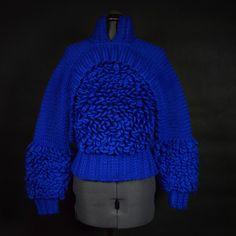 Nymphai chunky merino wool Jumper in electric blue handmade
