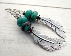 Raven Feather and Turquoise Earrings by Lost Sparrow Jewelry