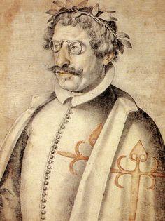 Francisco de Quevedo retratado después de ingresar en la Orden de Santiago en 1618 por Francisco Pacheco en su Libro de descripción de verdaderos retratos, ilustres y memorables varones.