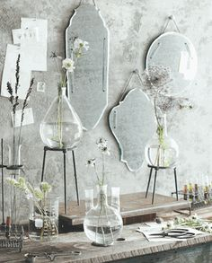 Simple, clean frameless mirrors & Pasteur lab glass vases ~ how cool?!