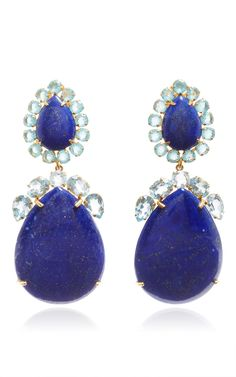 Brass 14 K Gold Plated, Lapis And Blue Quartz Earrings by BOUNKIT (=)