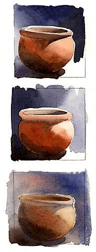Creating 3-D Form with Value--tips on the effects of different painting techniques of watercolors