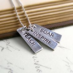 Teacher Appreciation Necklace Personalized Teacher Gift Silver Eco Friendly Necklace Inspirational Jewelry Back to School Fall Fashion. $61.00, via Etsy.