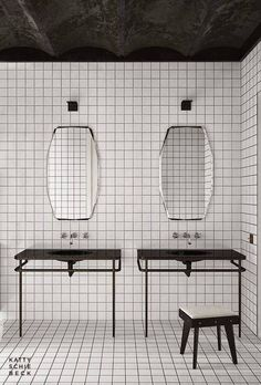 minimalist bathroom gridded bathroom