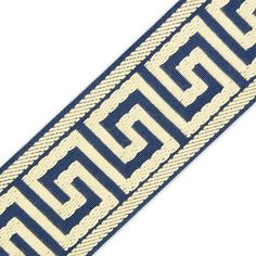 60MM GREEK KEY JACQUARD  Tape Trim @ mjtrim.com  Great site for trims & craft & fabric embellishments.  Really like this denim & ivory trim