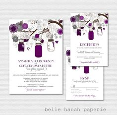 Mason Jars Wedding Invitation Set - Purple Wedding Invitation - Invitation, RSVP Card and Reception Card - Printable Wedding Invitation Set on Etsy, $39.00