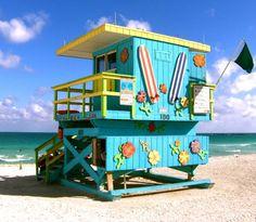 Beach Life In Miami South Beach Canvas Print / Canvas Art by Monique Wegmueller South Beach Miami, South Florida, Beach Shack, Surf Shack, Beach Lifeguard, I Love The Beach, Florida Beaches, Beach Bum, Bunt